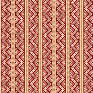 Crystal Farm Fabric - Andover Fabric - Half Yard - Edyta Sitar Laundry Basket Quilts Geometric Chevron Stripes Red & Off White A-8617-R