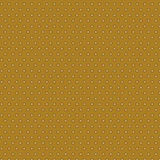 Crystal Farm Fabric - Andover Fabric - Half Yard - Edyta Sitar Laundry Basket Quilts Yellow Polka dots on Golden Brown A-8624-Y