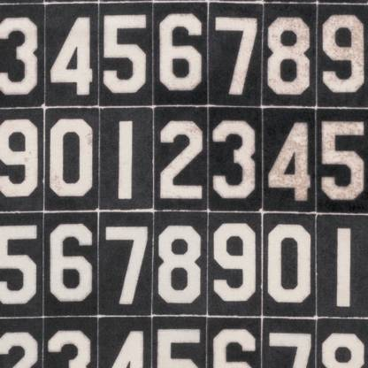 Eclectic Elements Dapper - Numbers - Tim Holtz Fabric - Half Yard - Black with White Numbers Digits Designer Quilt Fabric PWTH063.8BLAC