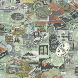 Eclectic Elements Travel Labels - Tim Holtz Fabric - Half Yard - Green Whimsical Writing Quilt Fabric Eclectic Elements PWTH009.8MULTI