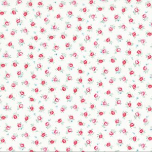 Flower Sugar Fabric - Half Yard - White with Small Pink Floral Flowers Roses Cottage Chic Designer Quilting Sewing Fabric Lecien