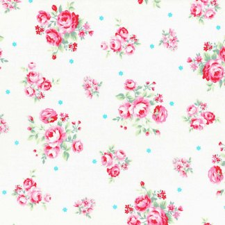 Flower Sugar White with Large Scale Pink Floral Flowers Rose Bouquets Tiny Blue Daisies Designer Quilting Sewing Fabric Lecien - 1/2 Yard