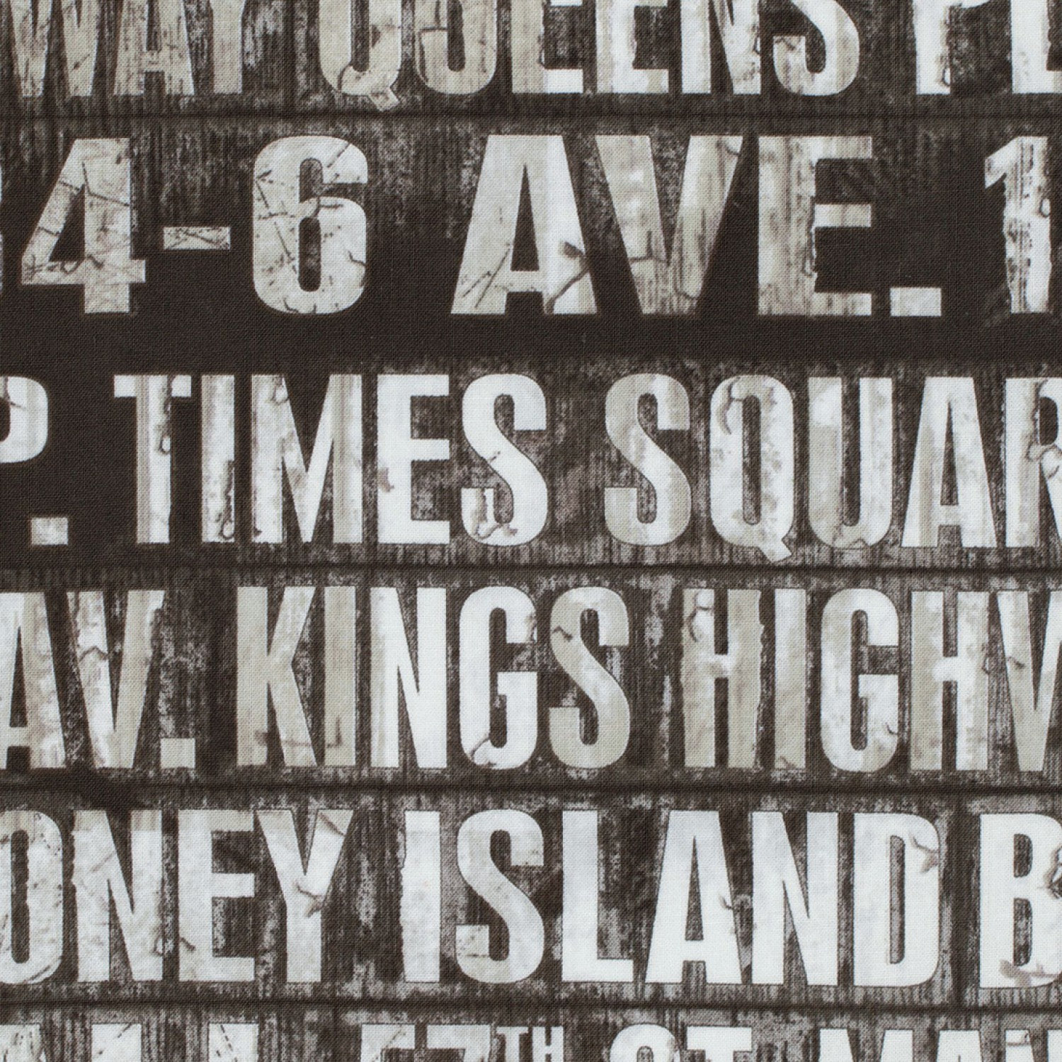 Foundations Subway Signs Tim Holtz Fabric Half Yard Charcoal Gray Grey Black White Quilting Fabric Eclectic Elements Pwth005taupe