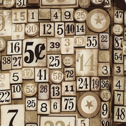Game Pieces Taupe - Half Yard - Foundations - Tim Holtz Designer Quilting Sewing Fabric Eclectic Elements Bingo Number Pieces PWTH012.TAUPE