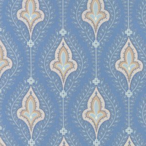 Grand Traverse Bay - Half Yard - Moda Fabric Floral Reproduction Northport Light Blue Large Scale Quilt Fabric Minick & Simpson 14820 14