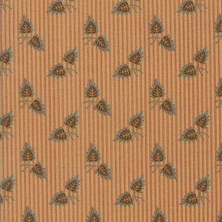 Gratitude Fabric - Half Yard - Jo Morton Moda Fabric Brown Floral Leaf Leaves Duo on Parchment Tan with Red Stripes Quilt Fabric 38001 23