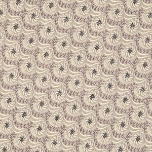 HABERDASHERY Vintage Swirly Pattern in Cream and Purple Reproduction Fabric by Jo Morton for Andover - Half Yard - A7640K