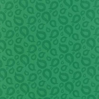Hello Friend Fabric - Half Yard - Moda Fabric Emerald Green Paisley Teardrops Quilt Fabric Abi Hall Fabrics Designer Quilt Fabric 35274 19
