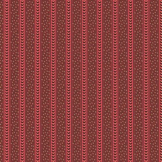 Hollyhocks - Brick Red and Black Stripes Striped Jo Morton Quilting Sewing Fabric by Andover - A-7749-R - Half Yard