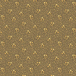 Hollyhocks - Olive Green With Gold and Black Berry Flowers Jo Morton Quilting Sewing Fabric by Andover - A-7748-RG - Half Yard
