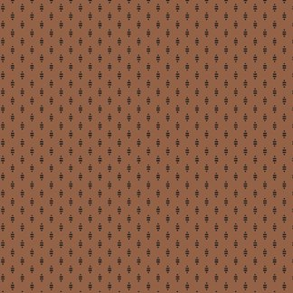 Hollyhocks - Raisin Brown with Black Striped Diamonds Jo Morton Reproduction Designer Quilting Sewing Fabric Andover - A-7751-RN - Half Yard