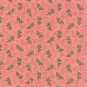Hyde Park - Half Yard - Delphinium Rose Hip Pink Floral Flowers with Green and Red Designer Quilting Fabric Blackbird Designs Moda 2764 12
