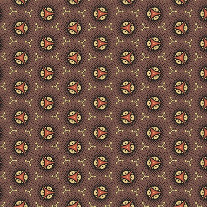Isabella Fabric - Half Yard - Jo Morton - Dark Brown with Pink Round Wheel Design Quilting Quilt Fabric Andover Reproduction - A-7942-N