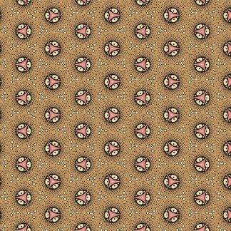Isabella Fabric - Half Yard - Jo Morton - Tan Light Brown with Pink Round Wheel Design Quilting Fabric Andover Reproduction - A-7942-LN