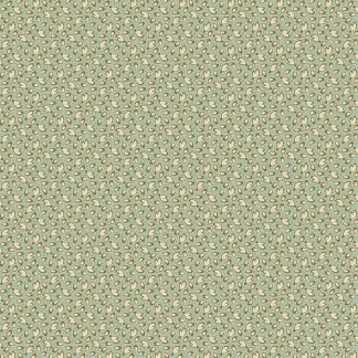 Key West Fabric - Half Yard - Green with Cream Small Leaf Design Di Ford Reproduction Quilt Fabric Andover A-8315-T