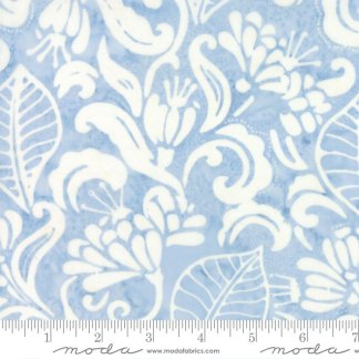 Latitude Batik Fabric - Moda Fabric - Half Yard - Kate Spain Light Blue Landmark Flowers and Leaves Hand Dyed Fabric Quilt Fabric 27250 253