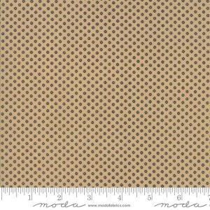 Liberty Gatherings Fabric - Moda Fabric - Half Yard - Dark Blue Dots Circles on Tan Small Scale Fabric Primitive Gatherings 1206 18