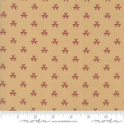 Liberty Gatherings Fabric - Moda Fabric - Half Yard - Red Fireworks on Tan Small Scale Shirting Fabric Primitive Gatherings 1207 16