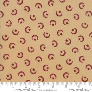 Liberty Gatherings Fabric - Moda Fabric - Half Yard - Red Moons and Stars on Tan Small Scale Shirting Fabric Primitive Gatherings 1200 16