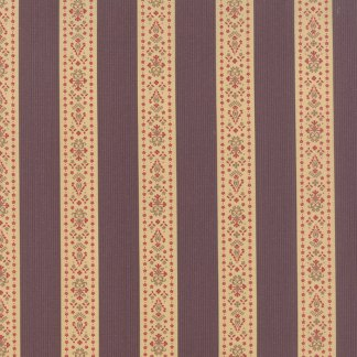 Mille Couleurs Floral Band de Fleurs Stripe Purple with Flowers Roses and Birds Designer Quilting Fabric 3 Sisters Moda - 1/2 Yard 44088 14