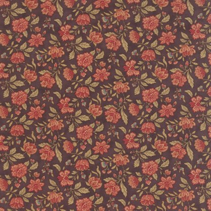 Mille Couleurs Floral Jardin Mulberry Purple with Pink Flowers Roses Designer Quilting Sewing Fabric 3 Sisters Moda - 1/2 Yard 44085 14