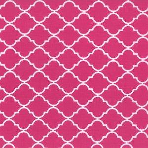 Quattro - Moda Fabric - Half Yard - Geometric Quatrefoil Berrylicious Hot Pink Studio M Modern Quatrefoil Designer Quilt Fabric 32985 33
