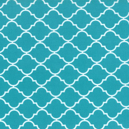 Quattro - Turquoise and White by Studio M Modern Quatrefoil Designer Quilting Sewing Fabric by Moda 32985 41 - 1/2 Yard