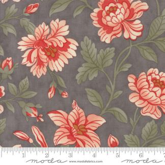Quill Fabric - Moda Fabric - Half Yard - Floral Damask Pink Large Flowers on Gray Grey 3 Sisters Fabric Large Scale Print 44156 12