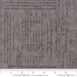 Quill Fabric - Moda Fabric - Half Yard - Script Ledger Dark Gray Grey Tonal Handwriting Fabric 3 Sisters Quilt Fabric 44152 12