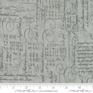 Quill Fabric - Moda Fabric - Half Yard - Script Ledger Light Aqua Blue Green with Grey Gray 3 Sisters Quilt Fabric 44152 14