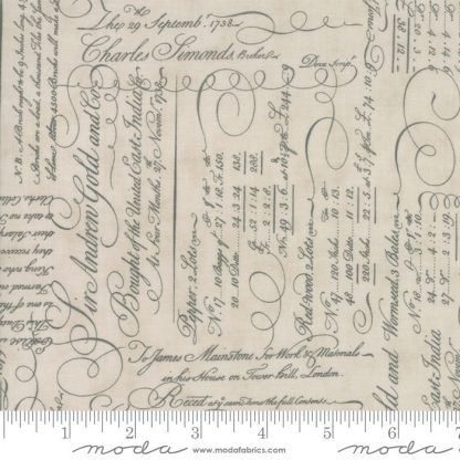 Quill Fabric - Moda Fabric - Half Yard - Script Ledger Natural Parchment Off White Cream with Grey Gray 3 Sisters Quilt Fabric 44152 11