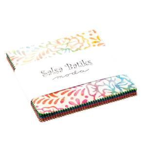 Salsa Batiks - Moda Fabric - Moda Charm Pack - Hand Dyed Fabric High Quality Quilt Fabric Collection Rainbow Colors - 5 inch fabric squares