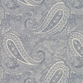 Snowberry Fabric - Moda Fabric - Half Yard - Blue Paisley on Cream White Fabric 3 Sisters Quilt Fabric Large Scale Print 44141 22