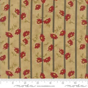 Sweet Cherry Wine Fabric - Moda Fabric - Half Yard - Striped Floral Tan with Gray Stripes Red Flowers Blackbird Designs Fabric 2784 16