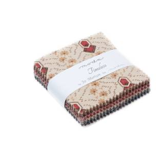 Timeless - Moda Mini Charm Pack - Jo Morton Fabric Red, Pink, Blue, Brown, Cream Reproduction Quilting Collection 2.5 inch squares 38020MC