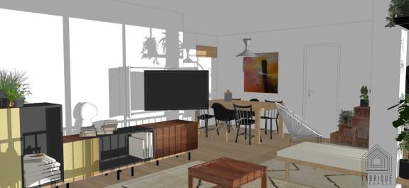 Salon TV -meuble ouvert avec écran dirigé vers le salon - Bras articulé - Rénovation appartement Boulogne-Billancourt