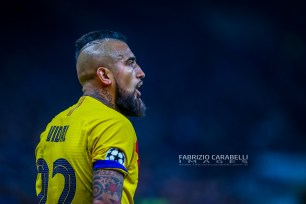 Arturo Vidal of FC Barcelona during the Champions League match between FC Internazionale and FC Barcelona at the San Siro Stadium, Milan, Italy on 10 December 2019. Photo Fabrizio Carabelli
