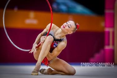 Baku, Azerbaijan - 09/19/2019: FIG Rhythmic Gymnastics World Championships 2019 Baku (AZE) - VEDENEEVA (SLO)