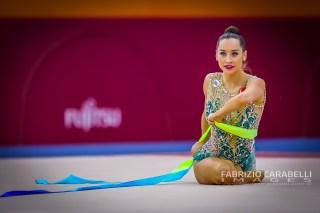 Baku, Azerbaijan - 09/19/2019: FIG Rhythmic Gymnastics World Championships 2019 Baku (AZE) - Halkina (BLR)