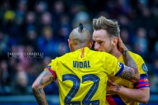Ivan Rakitić of FC Barcelona and Arturo Vidal of FC Barcelona during the Champions League match between FC Internazionale and FC Barcelona at the San Siro Stadium, Milan, Italy on 10 December 2019. Photo Fabrizio Carabelli