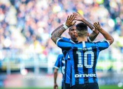 Lautaro Martínez of FC Internazionale celebrate with Ashley Young of FC Internazionale during the Serie A 2019/20 match between FC Internazionale vs Cagliari Calcio at the San Siro Stadium, Milan, Italy on January 26, 2020 - Photo Fabrizio Carabelli