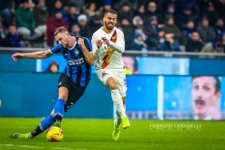 Milan Skriniar of FC Internazionale and Leonardo Spinazzola of AS Roma during the Serie A match between FC Internazionale and AS Roma at the San Siro Satdium, Milan, Italy on 06 December 2019. Photo Fabrizio Carabelli