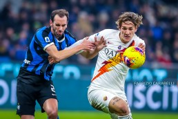 Nicolo Zaniolo of AS Roma during the Serie A match between FC Internazionale and AS Roma at the San Siro Satdium, Milan, Italy on 06 December 2019. Photo Fabrizio Carabelli