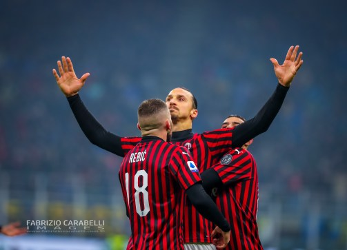 Zlatan Ibrahimovic of AC Milan celebrates the goal during the Serie A match between FC Internazionale and AC Milan at the San Siro Stadium, Milan, Italy on 09 February 2020 - Photo Fabrizio Carabelli