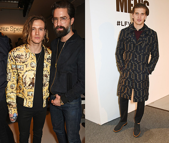 LONDON, ENGLAND - JANUARY 07: Dougie Poynter (L) and Jack Guinness attend the Oliver Spencer AW17 Catwalk Show during London Fashion Week Men's January 2017 at the BFC Show Space on January 7, 2017 in London, England. Pic Credit: Dave Benett