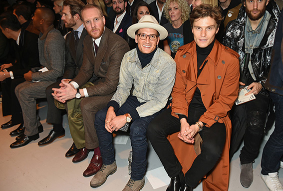 LONDON, ENGLAND - JANUARY 07: Joe Ottaway, Ollie Proudlock and Oliver Cheshire attend the Oliver Spencer AW17 Catwalk Show during London Fashion Week Men's January 2017 at the BFC Show Space on January 7, 2017 in London, England. Pic Credit: Dave Benett