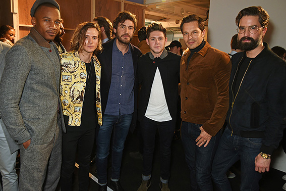 LONDON, ENGLAND - JANUARY 07: (L to R) Eric Underwood, Dougie Poynter, Robert Konjic, Niall Horan, Paul Sculfor and Jack Guinness pose backstage at the Oliver Spencer AW17 Catwalk Show during London Fashion Week Men's January 2017 at the BFC Show Space on January 7, 2017 in London, England. Pic Credit: Dave Benett