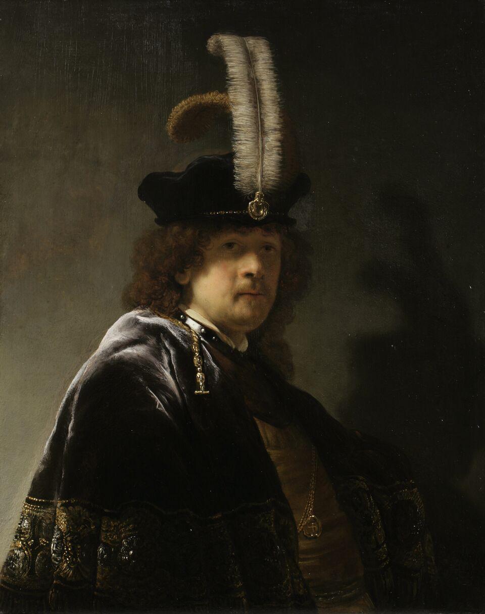 Self Portrait Wearing A White Feathered Bonnet, Rembrandt Van Rijn (c) National Trust, Image Chris Titmus