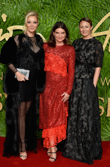 Nadja swarovski, dame natalie massenet and caroline rush attend the british fashion awards 2017 in partnership with swarovski (british fashion council)