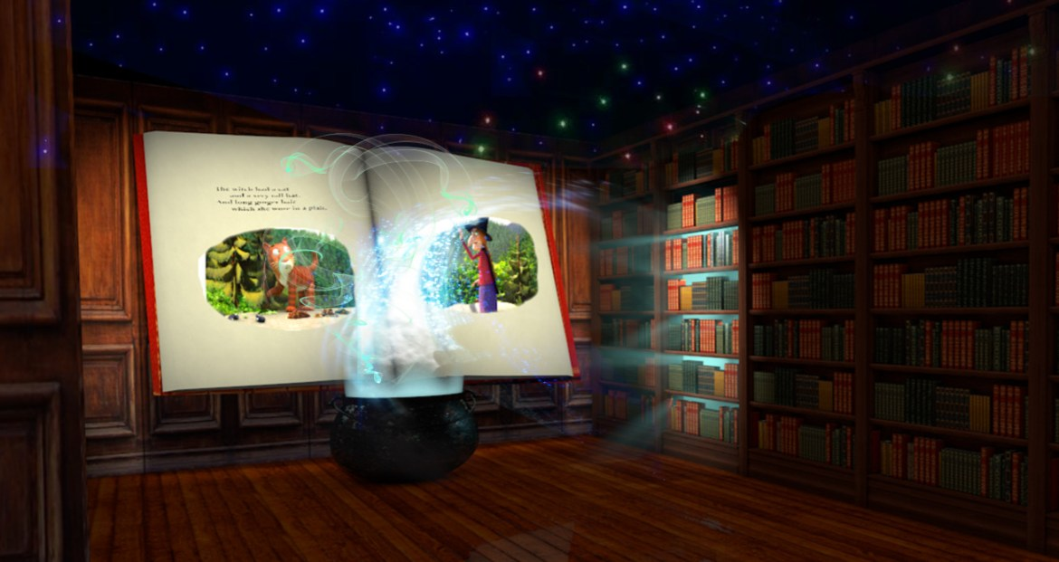 Conceptual image of room on the broom a magical journey (3)